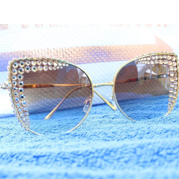 Celebrity Status Crystal Trim Semi Cateye Sunglasses
